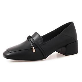 voordelige Damesinstappers & loafers-Dames Microvezel Herfst Loafers & Slip-Ons Blokhak Zwart / Beige