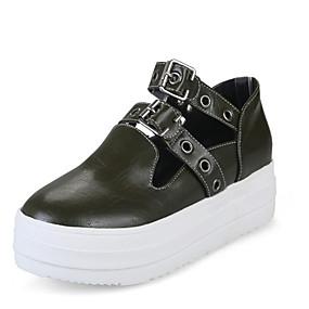 voordelige Damessneakers-Dames PU Lente & Herfst Sneakers Platte hak Ronde Teen Siernagel / Gesp Zwart / Grijs / Leger Groen