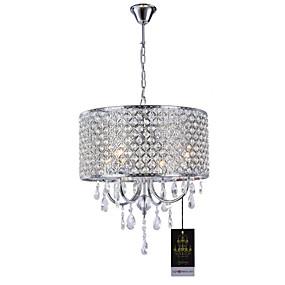 cheap Ceiling Lights & Fans-Lightinthebox 4-Light Drum Chandelier Uplight Chrome Metal Crystal 110-120V / 220-240V Warm White Bulb Not Included / E12 / E14