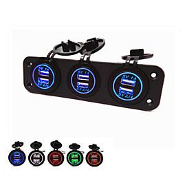 tanie Ładowarki samochodowe-3-otworowy panel lossmann z wodoodporną modą usb piękną 6 portów USB 5v 2.1a 1a zasilacze