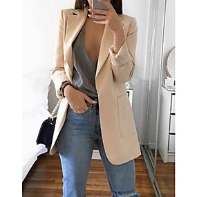 cheap US Explore Autumn Low-Key luxe-Women's Daily Basic Spring Regular Blazer, Solid Colored Notch Lapel Long Sleeve Polyester Blushing Pink / Gray / Khaki