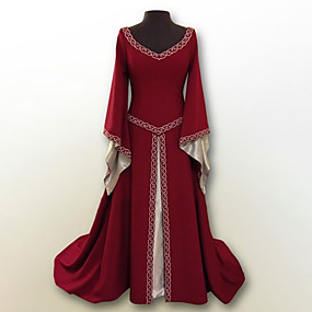 cheap Toys & Hobbies-Retro / Vintage Medieval Costume Women's Dress Red / Green / Blue Vintage Cosplay Polyster Party Prom Long Sleeve Flare Sleeve Floor Length Long Length Plus Size