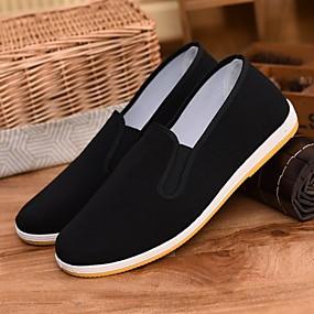 baratos Sapatilhas e Mocassins Masculinos-Homens Sapatos Confortáveis Algodão Primavera & Outono Mocassins e Slip-Ons Preto