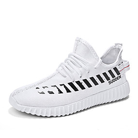 cheap Running Shoes-Men's Comfort Shoes Tissage Volant Spring Sporty / Preppy Athletic Shoes Running Shoes / Walking Shoes Breathable White / Black