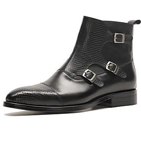 baratos Botas Masculinas-Homens Sapatos Confortáveis Pele Napa Outono & inverno Botas Botas Cano Médio Preto / Vinho / Coturnos