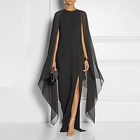 preiswerte Tägliche Angebote-A-Linie Schmuck Boden-Länge Chiffon Formeller Abend Kleid mit Vorne geschlitzt durch LAN TING Express