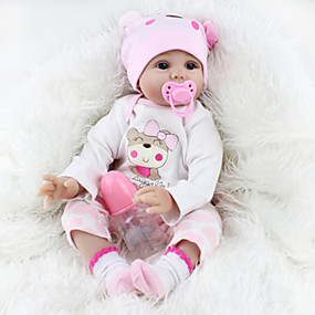 billige Leker-NPKCOLLECTION NPK DOLL Reborn-dukker Girl Doll Babyjenter Reborn Baby Doll Silikon - Newborn liv som Nuttet Smuk Foreldre-barninteraksjon Håndrotet Mohair Barne Leketøy Gave / Floppy Head