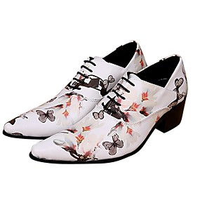 ราคาถูก รองเท้าOxfordสำหรับผู้ชาย-สำหรับผู้ชาย Novelty Shoes Synthetics ฤดูร้อนฤดูใบไม้ผลิ อังกฤษ รองเท้า Oxfords ความสูงเพิ่มมากขึ้น ขาว / งานแต่งงาน / พรรคและเย็น / พรรคและเย็น / พิมพ์ Oxfords