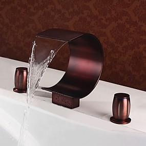 billige Ugentlige tilbud-Baderom Sink Tappekran - Foss Olje-gnidd Bronse Udspredt To Håndtak tre hullBath Taps / Messing