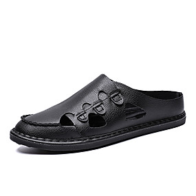 fd2d984624662a Men s Comfort Shoes Faux Leather Summer Casual Clogs   Mules Walking Shoes  Breathable Black   Dark Blue   Brown