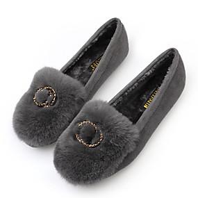 voordelige Damesschoenen met platte hak-Dames Platte schoenen Platte hak Imitatiebont Herfst Zwart / Grijs
