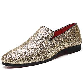 baratos Sapatilhas e Mocassins Masculinos-Homens Sapatos formais Microfibra Primavera & Outono Mocassins e Slip-Ons Dourado / Preto / Prata / Festas & Noite