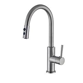 billige Uttrekkbar Spray-Kjøkken Kran - Enkelt Håndtak Et Hull Nikkel Børstet Uttrekkbar Centersat Moderne Kitchen Taps