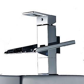 abordables Offres de la Semaine-Robinet lavabo - Jet pluie / LED Chrome Sur Pied Mitigeur deux trousBath Taps / Laiton