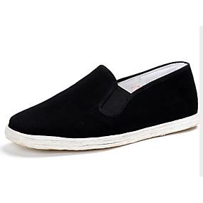 baratos Sapatilhas e Mocassins Masculinos-Homens Sapatos Confortáveis Algodão Primavera Mocassins e Slip-Ons Preto