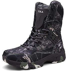 baratos Botas Masculinas-Homens Cowboy / Western Boots Lona Outono & inverno Esportivo / Vintage Botas Aventura Manter Quente Botas Cano Médio Estampa Colorida Cinzento / Marron