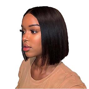 levne Novinky-Přírodní vlasy Se síťovanou přední částí Paruka Střih Bob Krátký Bob Střední část styl Brazilské vlasy Rovné, hedvábné Černá Paruka 130% Hustota vlasů s dětskými vlasy Přírodní vlasová linie Pro