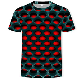 cheap National promotion-Men's Cotton T-shirt - 3D Print Round Neck Red XXXXL / Short Sleeve