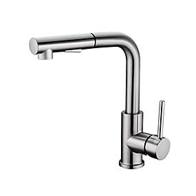 billige Uttrekkbar Spray-Kjøkken Kran - Enkelt Håndtak Et Hull Nikkel Børstet Uttrekkbar Annet Moderne Kitchen Taps