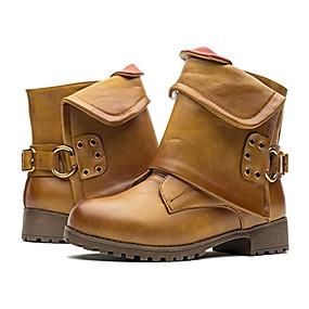 billige Mote Boots-Dame PU Vår & Vinter / Høst vinter Fritid / minimalisme Støvler Tykk hæl Rund Tå Spenne Gul / Rød / Mandel
