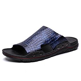 Χαμηλού Κόστους Αντρικές Παντόφλες & Σαγιονάρες-Ανδρικά Παπούτσια άνεσης Λουστρίν Καλοκαίρι Βρετανικό Παντόφλες & flip-flops Αναπνέει Μαύρο / Σκούρο μπλε / Μπλε