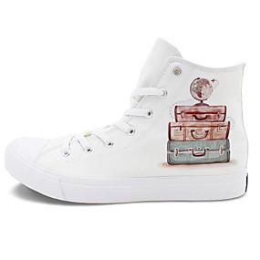 voordelige Damessneakers-Dames Canvas Herfst Sneakers Platte hak Wit