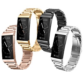 cheap Smartwatch Bands-Watch Band for Fitbit Charge 3 Fitbit Classic Buckle Stainless Steel Wrist Strap
