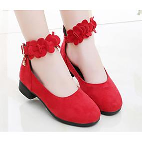 baratos Kids' Shoes Promotion-Para Meninas Camurça Saltos Criança (9m-4ys) / Little Kids (4-7 anos) / Big Kids (7 anos +) Conforto / Salto minúsculos para Adolescentes Preto / Vermelho Outono