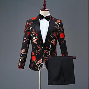 povoljno Maturalna odijela-Patterned Uski kroj Poliester Odijelo - Šiljasti Droit 1 bouton