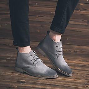 baratos Botas Masculinas-Homens Fashion Boots Pele Outono & inverno Vintage Botas Botas Curtas / Ankle Preto / Marron / Cinzento