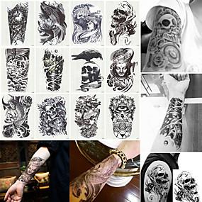 voordelige tattoo stickers-12 pcs Tijdelijke tatoeages Waterbestendig / Ergonomisch Ontwerp / Beste kwaliteit brachium / Torso / terug Tatoeagestickers
