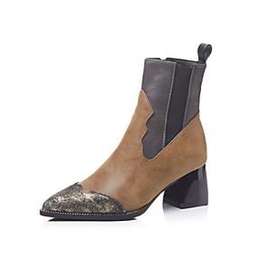 billige Mote Boots-Dame PU Høst vinter Støvler Tykk hæl Spisstå Støvletter Svart / Brun / Fest / aften