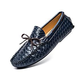 baratos Sapatos Náuticos Masculinos-Homens Sapatos Confortáveis Pele Napa Primavera Verão Sapatos de Barco Não escorregar Preto / Azul