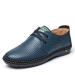 baratos Oxfords Masculinos-Homens Sapatos Confortáveis Microfibra Primavera Verão Casual Oxfords Caminhada Não escorregar Botas Curtas / Ankle Preto / Amarelo / Azul Real