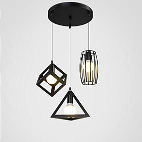 billige Hengelamper-3-Light Drum / Øy / geometriske Anheng Lys Nedlys Malte Finishes Metall Justerbar 110-120V / 220-240V Varm Hvit / Kald Hvit