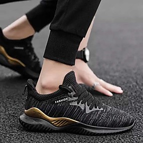 cheap Running Shoes-Men's Comfort Shoes Elastic Fabric / Tissage Volant Summer Sporty Athletic Shoes Running Shoes Non-slipping Beige / Gray / Black / Gold