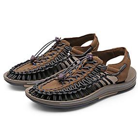 baratos Sandálias Masculinas-Homens Sapatos Confortáveis Microfibra Verão Sandálias Marron / Preto / Vermelho / Branco / azul