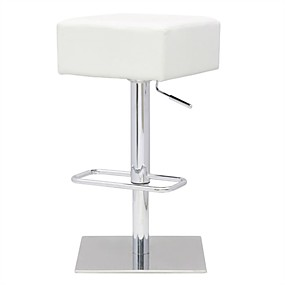 cheap Kitchen & Dining Furniture-Set of 2 - Modern Backless Swivel Adjustable Height Barstool with White Faux Leather Seat