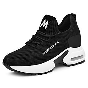 voordelige Damessneakers-Dames Sneakers Sportieve look Sleehak Netstof Zoet / minimalisme Lente & Herfst / Zomer Zwart / Zwart / Rood