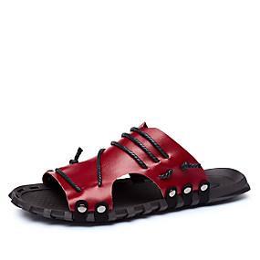 baratos Sandálias e Chinelos Masculinos-Homens Sapatos de couro Pele Verão Clássico / Casual Chinelos e flip-flops Caminhada Respirável Preto / Branco / Vinho