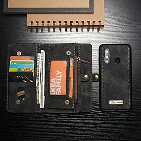 ราคาถูก อุปกรณ์เสริมโทรศัพท์มือถือ-CaseMe Case สำหรับ Samsung Galaxy Samsung Galaxy A20 (2019) / Samsung Galaxy A70 (2019) Wallet / Card Holder / with Stand ตัวกระเป๋าเต็ม สีพื้น Hard หนัง PU สำหรับ Galaxy A30 (2019) / Galaxy A50