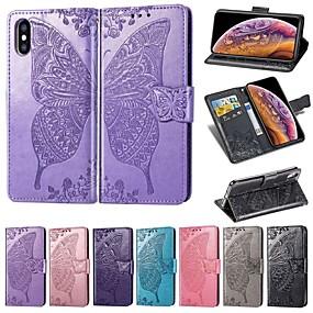 billige iPhone-etuier-taske til Apple iPhone xr / iphone xs max præget / magnetisk / stødtæt hele kroppen krop sommerfugl / solid farvet hårdt pu læder til iphone x / xs / 8 plus / iphone 8/7 plus / iphone 7 / iphone 6s /