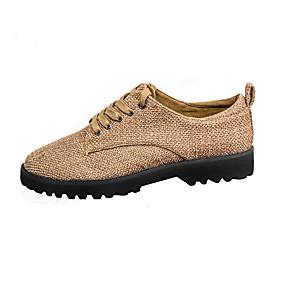 voordelige Damessneakers-Dames Sneakers Inrijgen Lage hak Ronde Teen Polyester Informeel Lente & Herfst / Zomer Donker Bruin