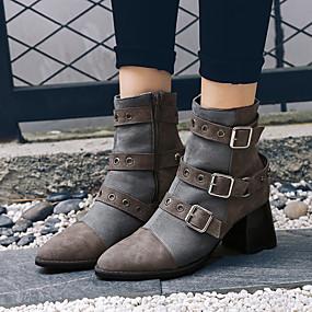 billige Mote Boots-Dame Støvler Fashion Boots Tykk hæl Spisstå PU Ankelstøvler Vintage / Preppy Høst vinter Svart / Grå / Fest / aften