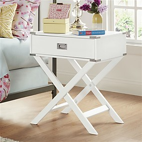 cheap Accent Furniture-White Modern Bedroom Decor 1-Drawer Bedside Table Nightstand End Table