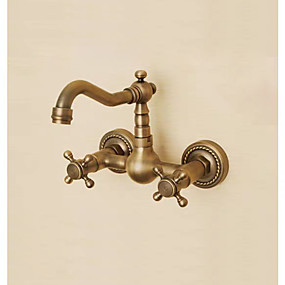 billige Forbedringer til hjemmet-Baderom Sink Tappekran - Utbredt Antikk Kobber Vægmonteret To Huller / To Håndtak tre hullBath Taps