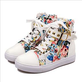 voordelige Damessneakers-Dames Sneakers Verborgen hiel Siernagel Canvas / PU Lente & Herfst Regenboog / Blauw / Roze