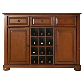 cheap Bedroom Furniture-Cherry Wood Dining Room Storage Buffet Cabinet Sideboard with Wine Holder