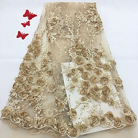 cheap Crafts & Sewing-African lace Florals Pattern 125 cm width fabric for Bridal sold by the 5Yard