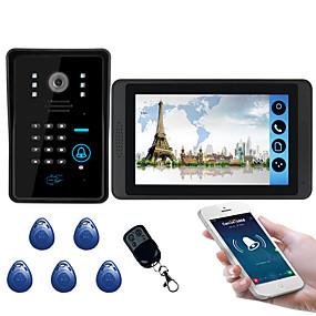 billige Videodørtelefon-618mjids11 7 tommers kapasitiv berøringsskjerm videokamera kablet video dørklokke wifi / 3g / 4g ekstern oppringing opplåsing lagring utendørs maskin passord kort